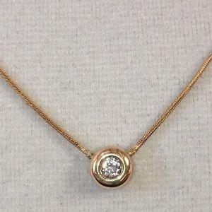 Jewelry - 14KT Yellow Gold Natural Diamond Bezel Necklace